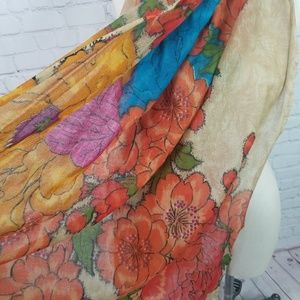 Anthropologie Feathers by Tolani wool silk scarf